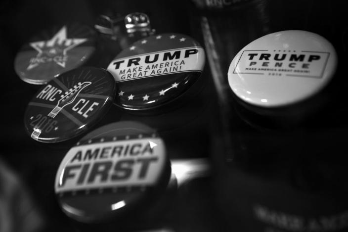<p>Campaign buttons at the Republican National Convention Thursday, July 21, 2016, in Cleveland, OH. (Photo: Khue Bui for Yahoo News)</p>