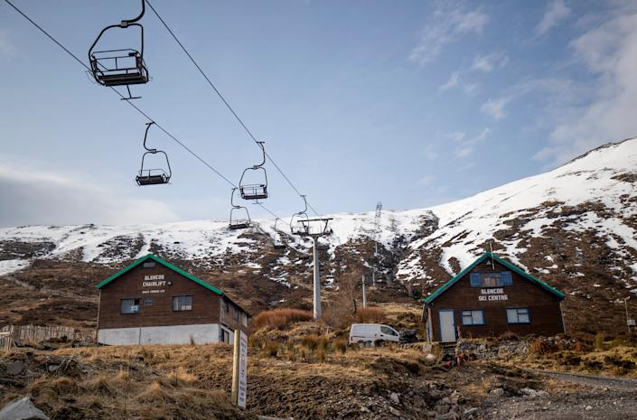 Empty chairlifts at the Glencoe Ski Centre in Ballachulish, Scotland.