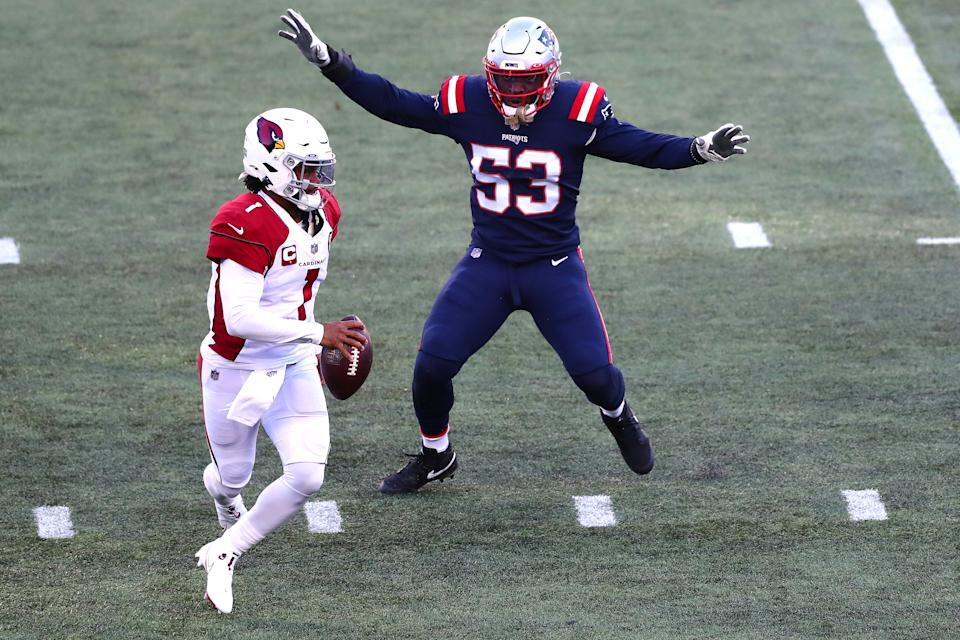 Josh Uche, right, had some flashes down the stretch as a rookie for the New England Patriots, but could be on the verge for much more in 2021. (Photo by Adam Glanzman/Getty Images)