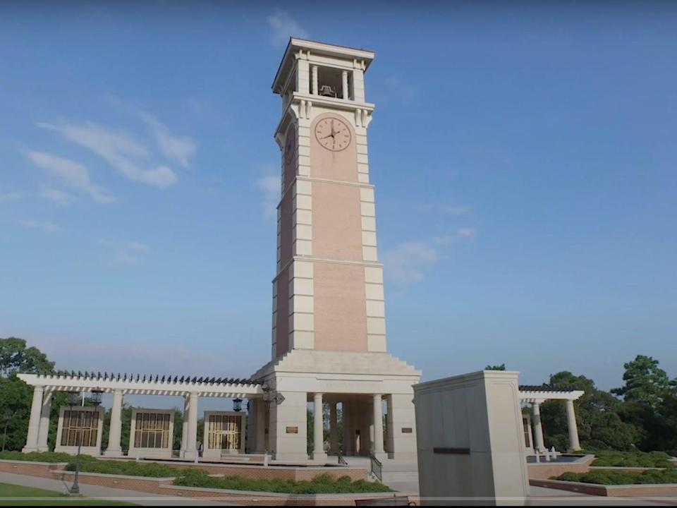 <p>Moulton Bell Tower at the University of South Alabama</p> ((University of South Alabama - YouTube))