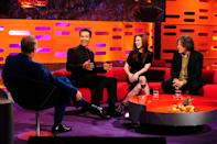 (Left to right) Graham Norton, Matthew McConaughey, Julianne Moore and Alan Davies during the filming of the Graham Norton Show at The London Studios, south London, to be aired on BBC One on Friday evening.