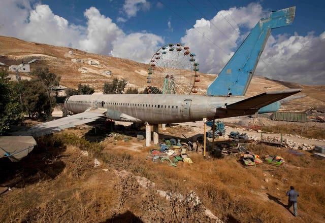 An old Boeing 707 awaits conversion to a restaurant and cafe, near the west bank town of Nablus in 2009