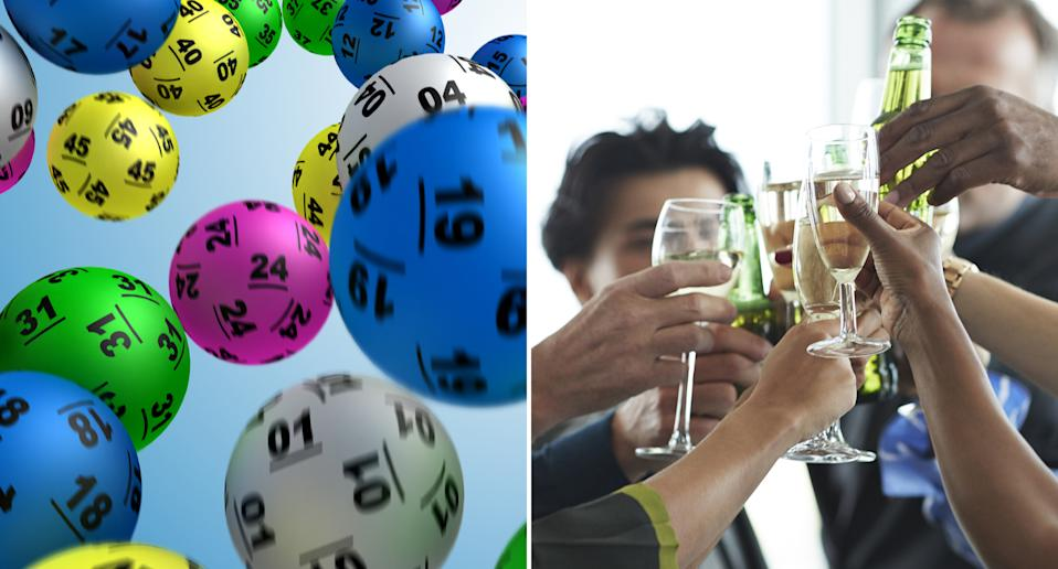 Lottery balls are pictured along with people celebrating.