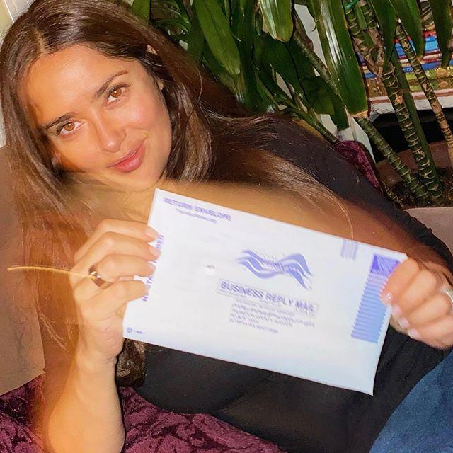"<p>Morrone also starred in a video with her friend Salma Hayek to speak to the Latinx community about the importance of voting. Hayek then shared a photo of herself with her sealed vote.</p><p><a href=""https://www.instagram.com/p/CGaNWy7gLzI/"" rel=""nofollow noopener"" target=""_blank"" data-ylk=""slk:See the original post on Instagram"" class=""link rapid-noclick-resp"">See the original post on Instagram</a></p>"