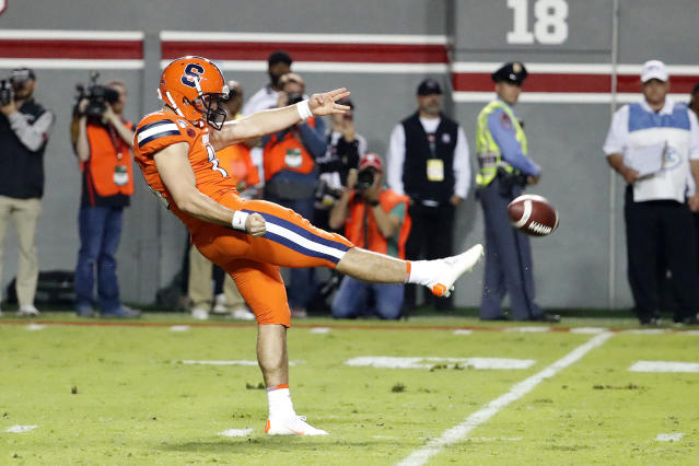 File- This Oct. 10, 2019, file photo shows Syracuse's Sterling Hofrichter (10) punting the ball against the North Carolina State during the first half of an NCAA college football game in Raleigh, N.C. Syracuse has a terrific 1-2 punch in Hofrichter and place-kicker Andre Szmyt. Together theyve helped the Orange excel on special teams for a second straight season. Hofrichter has landed 93 of his 255 career punts inside the 20-yard line with only 13 touchbacks. (AP Photo/Karl B DeBlaker, File)