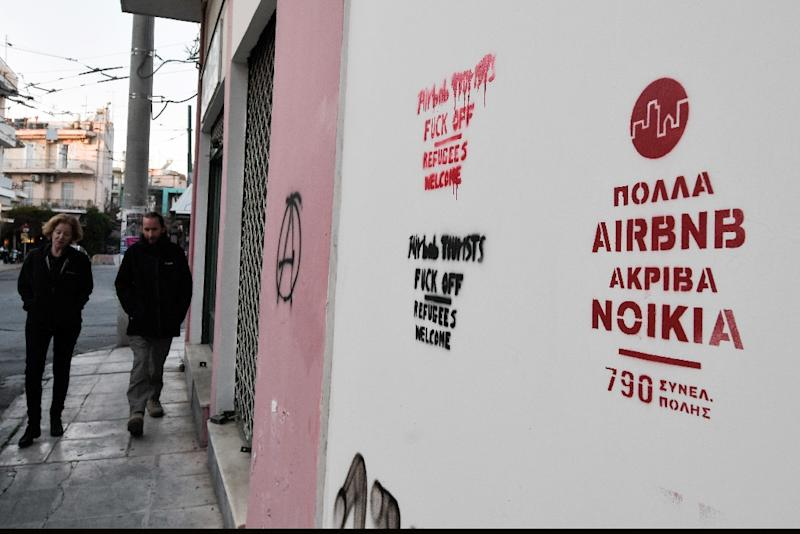 """Many Airbnb, high rents"" (AFP Photo/LOUISA GOULIAMAKI)"