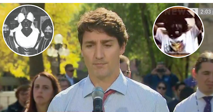 A composite image shows Justin Trudeau in two images where he donned blackface and brownface, and an image of him speaking during a press conference during which time he apologized for his actions.