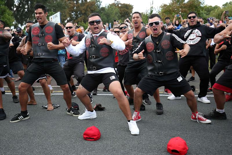 Members of a New Zealand gang perform the haka (AFP/Getty Images)