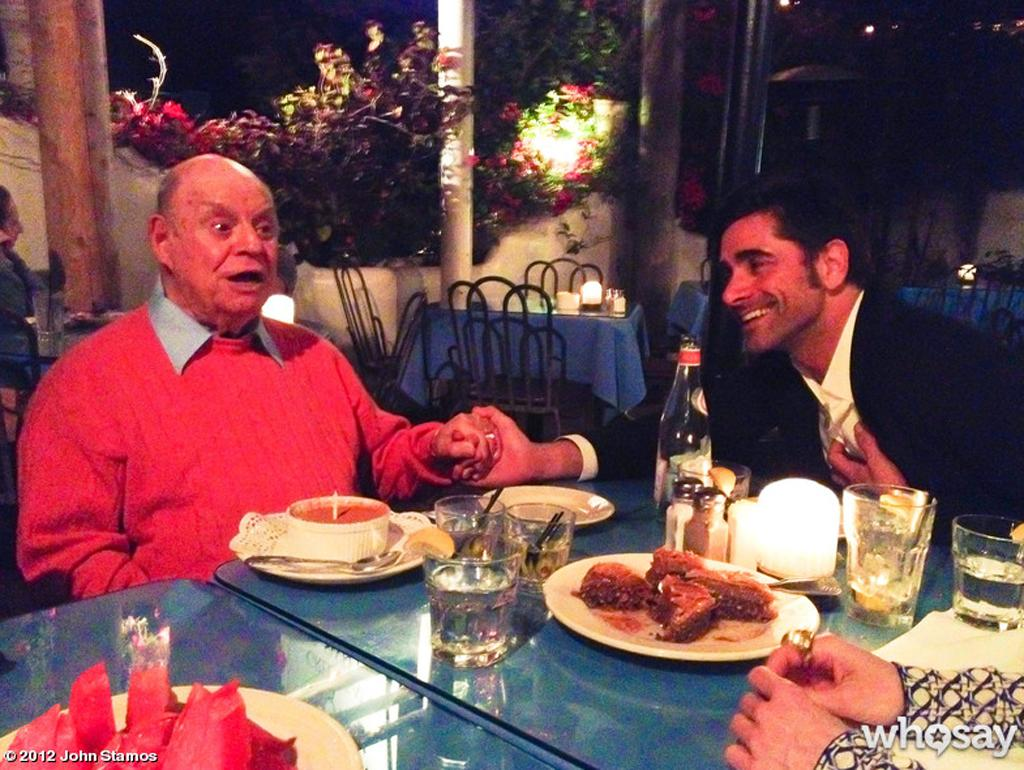 "John Stamos seems to have struck up an unlikely May-December friendship with legendary insult comic Don Rickles. The 48-year-old ""Full House"" actor posted this pic of himself enamored with 86-year-old Rickles on <a href=""http://www.whosay.com/johnstamos/photos/176187"">his WhoSay page</a> on Tuesday, writing ""going away din with my fav @DonRickles - like the scarecrow, i think i'll miss him the most. #leavingthistownforanotherone."" It's still unclear exactly where Stamos is going, but he got in more time with ""Mr. Warmth"" on May 9, the day after Rickles' 86th birthday, and posted another <a href=""http://www.whosay.com/johnstamos/photos/169708"">pic of the pals</a> together. ""HAPPY BIRTHDAY (yesterday),"" he wrote. ""i love you dearly @DonRickles(don't know who the kid in brown sweater is)>"" Um, we do! It's Ryan Gosling, another Rickles fan, apparently!"