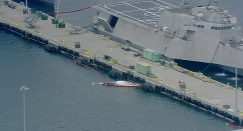Two whales, believed to be a mother and calf were dislodged from underneath an Australian Navy ship. Source: ABC News