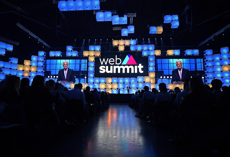 LISBON , PORTUGAL - 5 November 2019; Michel Barnier, Chief Negotiator on Brexit, European Commission, on Centre Stage during the opening day of Web Summit 2019 at the Altice Arena in Lisbon, Portugal. (Photo By David Fitzgerald/Sportsfile for Web Summit via Getty Images)