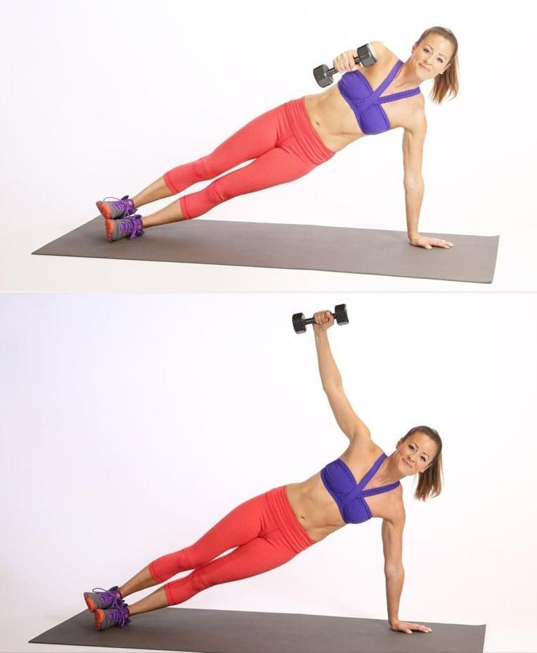 "<ul> <li>Begin in a <a href=""https://www.popsugar.com/fitness/How-Do-Side-Plank-Pose-25627345"" class=""link rapid-noclick-resp"" rel=""nofollow noopener"" target=""_blank"" data-ylk=""slk:side plank"">side plank</a>, hips stacked and one 5 lb. weight in your top arm. Bend the top arm in a 90-degree angle in front of your stomach. </li> <li>Keeping your top elbow glued to your side, rotate open the top arm using your back. Then <a href=""http://www.popsugar.com/fitness/photo-gallery/42122680/image/42122749/Side-Plank-Weight"" class=""link rapid-noclick-resp"" rel=""nofollow noopener"" target=""_blank"" data-ylk=""slk:press the top arm straight up to the ceiling"">press the top arm straight up to the ceiling</a>, keeping your shoulders away from your ears. </li> <li>Come out the way you went in. So bend the elbow back to your side, then rotate the arm back in front of your stomach. </li> <li>Repeat 12 to 16 times each side for one circuit. Complete the circuit twice.</li> <li><strong>Modification:</strong> Do this move in a <a href=""http://www.popsugar.com/fitness/photo-gallery/43638335/image/43638570/Modified-Plank-Knees"" class=""link rapid-noclick-resp"" rel=""nofollow noopener"" target=""_blank"" data-ylk=""slk:modified plank position"">modified plank position</a> on your knees. </li> </ul>"