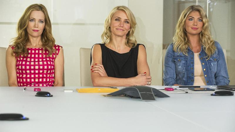 """This image released by 20th Century Fox shows Leslie Mann, from left, Cameron Diaz and Kate Upton in a scene from """"The Other Woman."""" (AP Photo/20th Century Fox, Barry Wetcher)"""
