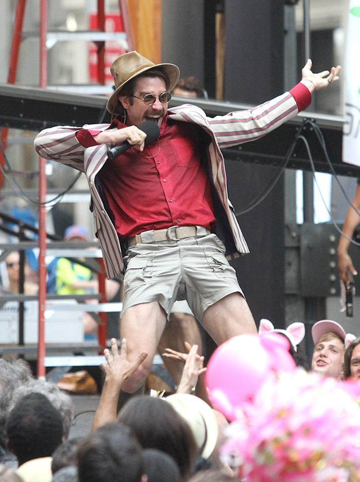 """<p>Jake, is that you? On July 16, the <i>Southpaw</i> and <i>Nightcrawler</i> star was snapped wearing short-shorts, a striped jacket, a fedora, and a thick 'stache. Don't worry though, there's a reason for his outrageous getup: He was filming on the New York set of <i><a href=""""https://media.netflix.com/en/press-releases/okja-a-netflix-original-film-starring-tilda-swinton-jake-gyllenhaal-and-paul-dano-from-visionary-director-bong-joon-ho-starts-principal-photography-today"""">Okja</a></i>, a comedy-horror movie from the director of <i>Snowpiercer</i>about a young girl and her best friend, a giant creature named Okja. <i>(Photo: Fameflynet Pictures)</i></p>"""