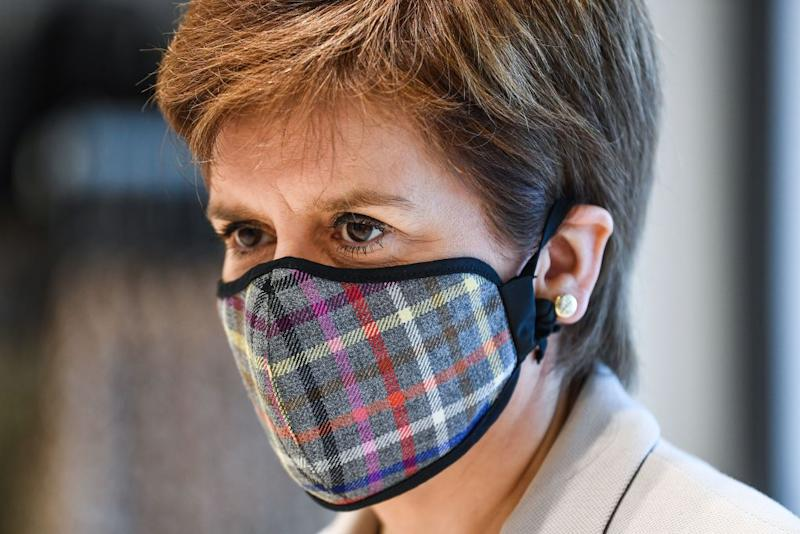 Nicola Sturgeon has revealed her first lockdown haircut, pictured here in June. (Getty Images)