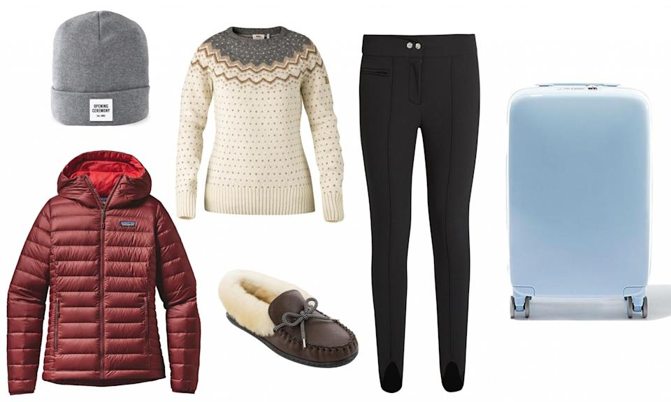 <p>Be prepared when you go down the slopes in a well-insulated jacket like one from Patagonia, and when you're warming up après ski, keep your feet comfy with fuzzy moccasins. </p>