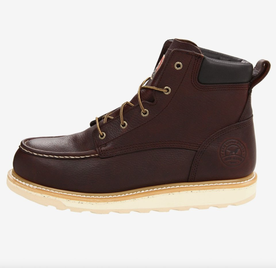 """<p><strong>Irish Setter</strong></p><p>zappos.com</p><p><strong>$139.95</strong></p><p><a href=""""https://go.redirectingat.com?id=74968X1596630&url=https%3A%2F%2Fwww.zappos.com%2Fp%2Firish-setter-83606-6-aluminum-toe-wedge-brown%2Fproduct%2F7874374&sref=https%3A%2F%2Fwww.esquire.com%2Fstyle%2Fmens-fashion%2Fg12486892%2Fbest-work-boots-men%2F"""" rel=""""nofollow noopener"""" target=""""_blank"""" data-ylk=""""slk:Shop Now"""" class=""""link rapid-noclick-resp"""">Shop Now</a></p><p>Moc-toe boots have a long history in workwear. Some go for a softer route, recognizing that the wearer is perhaps more likely to be grabbing brunch than an I-beam. But this pair leans in on the functionality; the aluminum toe protects you from falling objects, while the padded collar and wedge sole keep you comfortable.</p>"""