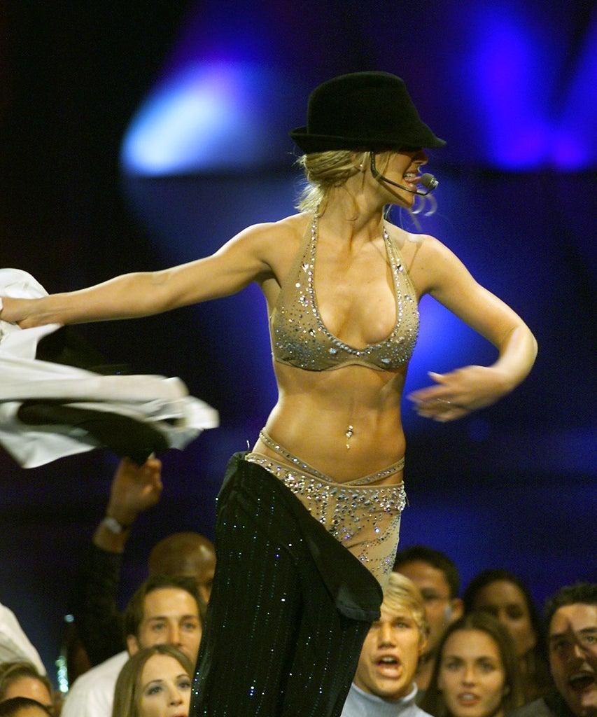 Britney Spears performing at the 2000 MTV Video Music Awards at Radio City Music Hall in New York City. 9/7/2000