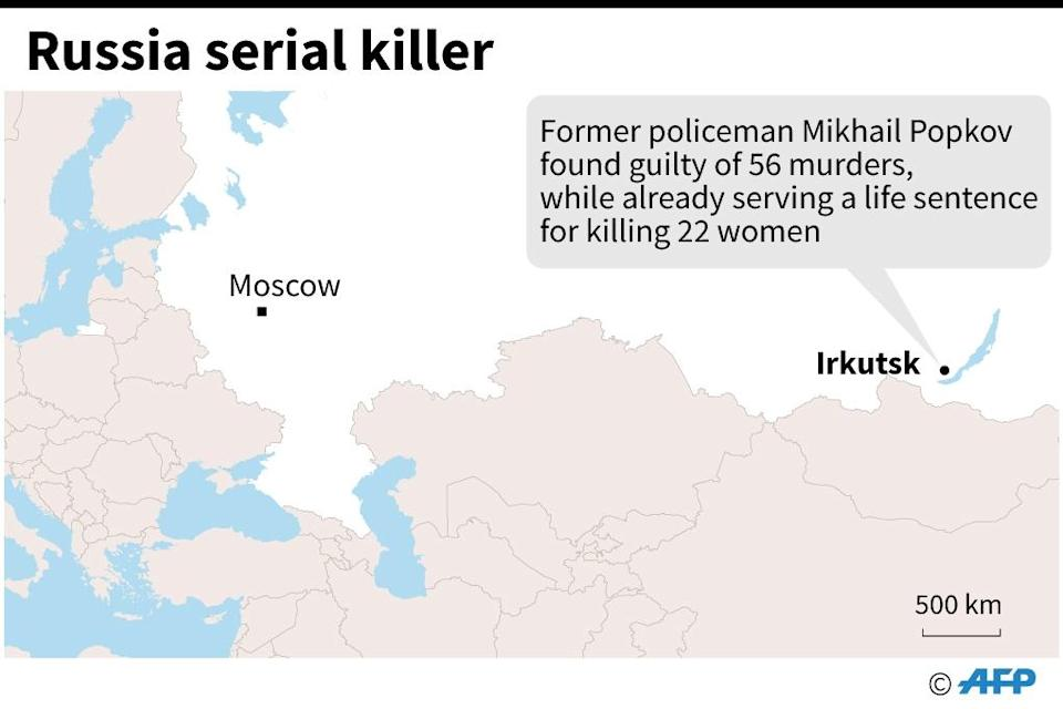 Map locating Irkutsk in Russia where a former policeman was found guilty of 56 murders on December 10, while already serving a life sentence for killing 22 women. (AFP Photo/AFP )