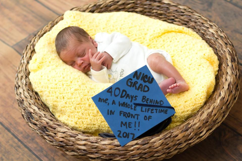 "<p>""NICU GRAD, 40 Days Behind Me, A Whole Lifetime In Front Of Me!! 2017"" <em>(Photo via: <a rel=""nofollow noopener"" href=""https://www.bellababyphotography.com/"" target=""_blank"" data-ylk=""slk:Bella Baby Photography"" class=""link rapid-noclick-resp"">Bella Baby Photography</a>)</em> </p>"
