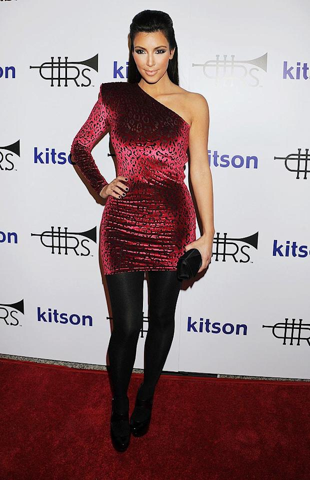 "Is it just us, or does Kim Kardashian's getup look incredibly inexpensive ... and incredibly ugly? Jeffrey Mayer/<a href=""http://www.wireimage.com"" target=""new"">WireImage.com</a> - October 21, 2009"