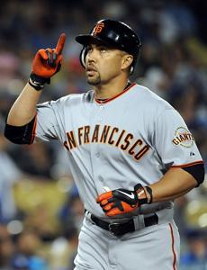 Carlos Beltran crosses home plate after homering for San Francisco in a Sept. 22 game in Los Angeles