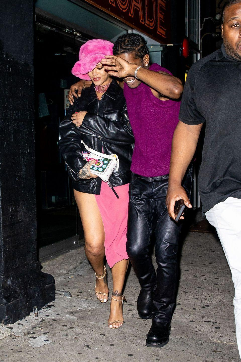 """<p>On June 22, 2021, Rihanna and boyfriend ASAP Rocky were <a href=""""https://www.elle.com/uk/life-and-culture/a36116780/rihanna-asap-rocky-relationship/"""" rel=""""nofollow noopener"""" target=""""_blank"""" data-ylk=""""slk:pictured on a date night in New York City and people had a lot of feelings."""" class=""""link rapid-noclick-resp"""">pictured on a date night in New York City and people had a lot of feelings.</a> The PDA-pictures were adorable - Rihanna wore a pink fluffy hat with a vintage Dior sleep dress, ASAP wore head-to-toe leather and Rihanna appeared to have covered up a tattoo on her ankle....</p>"""