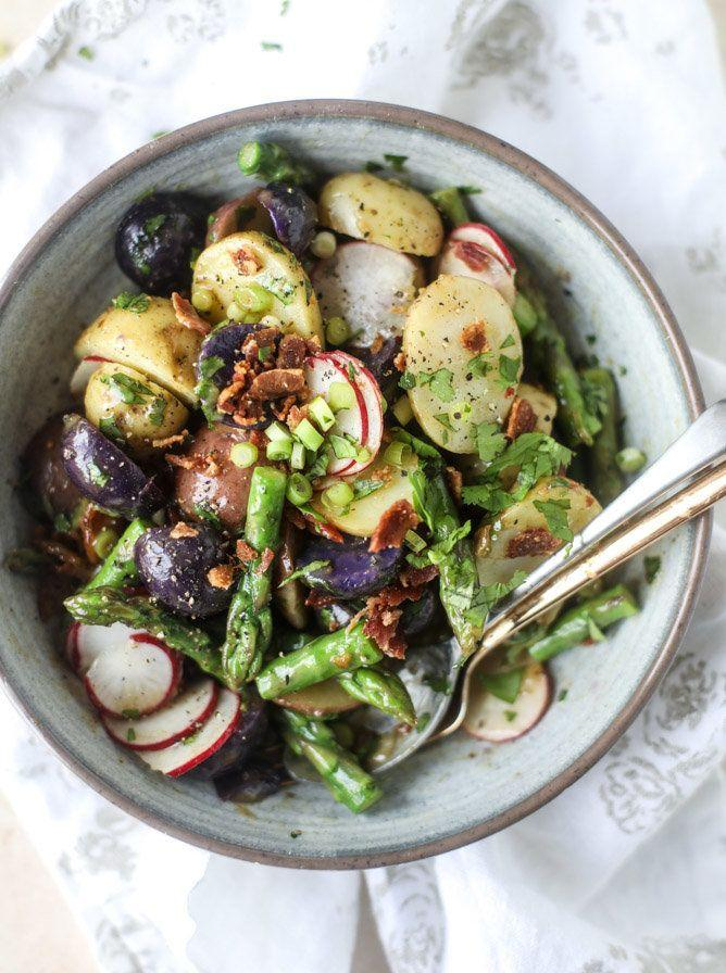 """<strong>Get the <a href=""""http://www.howsweeteats.com/2017/03/asparagus-potato-salad-hot-bacon-dressing/"""" rel=""""nofollow noopener"""" target=""""_blank"""" data-ylk=""""slk:Asparagus Potato Salad With Hot Bacon Dressing recipe"""" class=""""link rapid-noclick-resp"""">Asparagus Potato Salad With Hot Bacon Dressing recipe</a>&nbsp;from How Sweet It Is</strong>"""