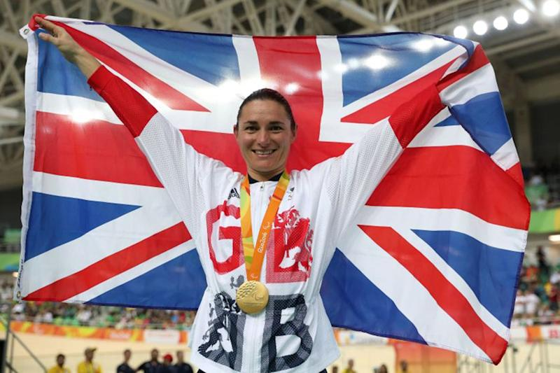 Sarah Storey wins the women's C5 3000m Individual Pursuit Final at the Rio Olympic Velodrome: PA