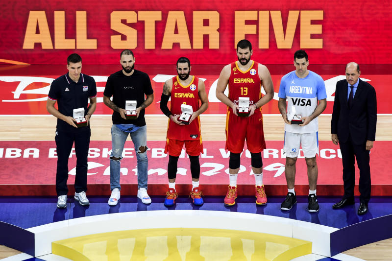 BEIJING, CHINA - SEPTEMBER 15: All Star Five celebrate after Spain win the finals between Argentina and Spain of 2019 FIBA World Cup at the Cadillac Arena on September 15, 2019 in Beijing, China. (Photo by Di Yin/Getty Images)