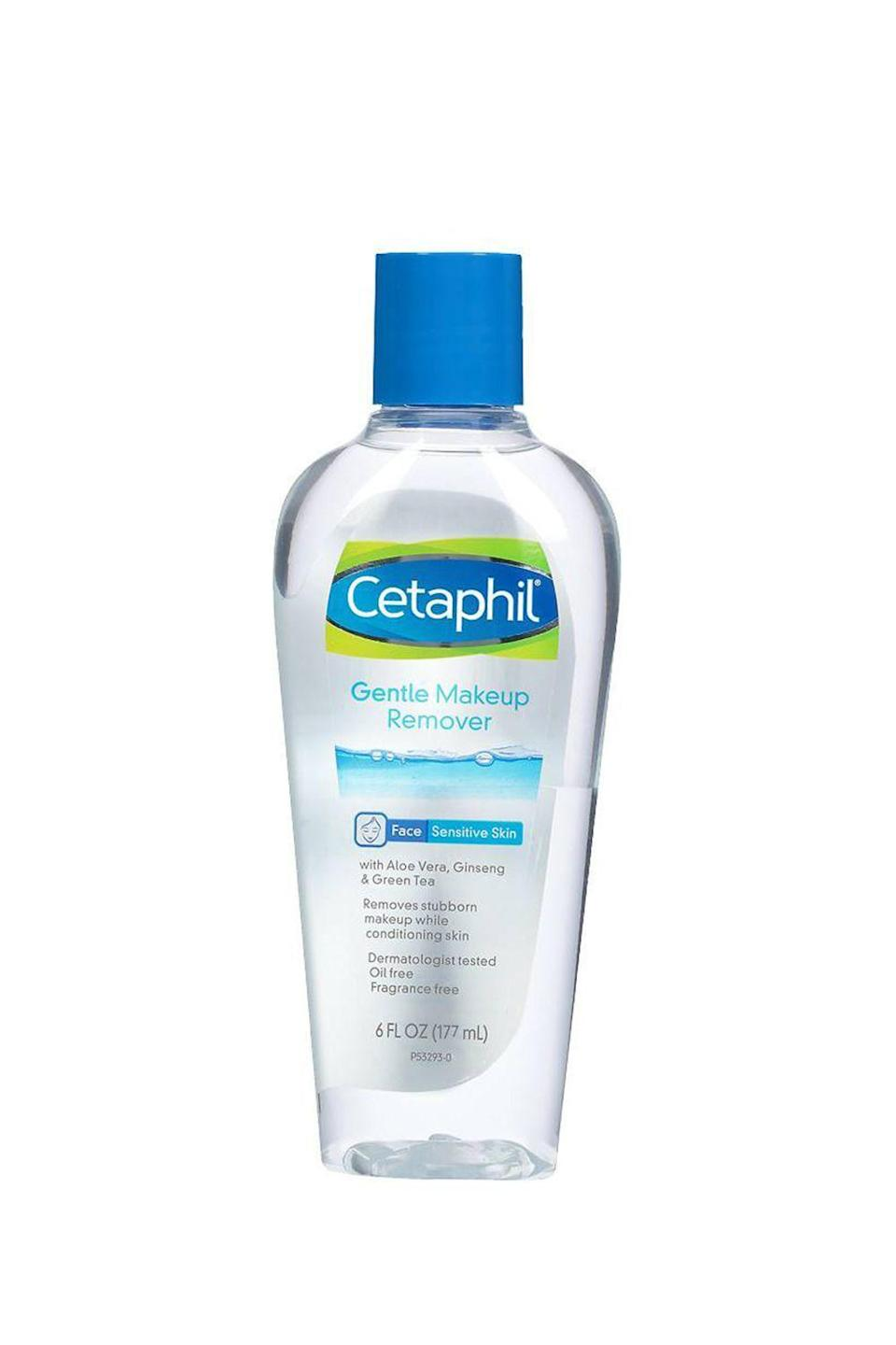 """<p><strong>Cetaphil</strong></p><p>ulta.com</p><p><strong>$10.99</strong></p><p><a href=""""https://go.redirectingat.com?id=74968X1596630&url=https%3A%2F%2Fwww.ulta.com%2Fliquid-makeup-remover%3FproductId%3DxlsImpprod15622967&sref=https%3A%2F%2Fwww.cosmopolitan.com%2Fstyle-beauty%2Fbeauty%2Fg19620718%2Fbest-makeup-remover%2F"""" rel=""""nofollow noopener"""" target=""""_blank"""" data-ylk=""""slk:Shop Now"""" class=""""link rapid-noclick-resp"""">Shop Now</a></p><p>Noncomedogenic? Check. Fragrance-free? Check. Gently removes face makeup with zero oily residue? Check. This makeup remover was legit made for your sensitive skin. Bonus: It's <strong>formulated with hydrating</strong> <strong><a href=""""https://www.cosmopolitan.com/style-beauty/beauty/g27017387/best-aloe-vera-gel/"""" rel=""""nofollow noopener"""" target=""""_blank"""" data-ylk=""""slk:aloe vera"""" class=""""link rapid-noclick-resp"""">aloe vera</a></strong> and soothing ginseng and green tea.</p>"""