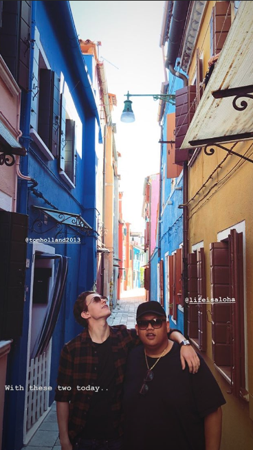 "5f7583d59cfb Zendaya also posted a snap on her Instagram Stories of Holland and Batalon  posing in a quaint and colorful alleyway. ""With these two today…"" she wrote."