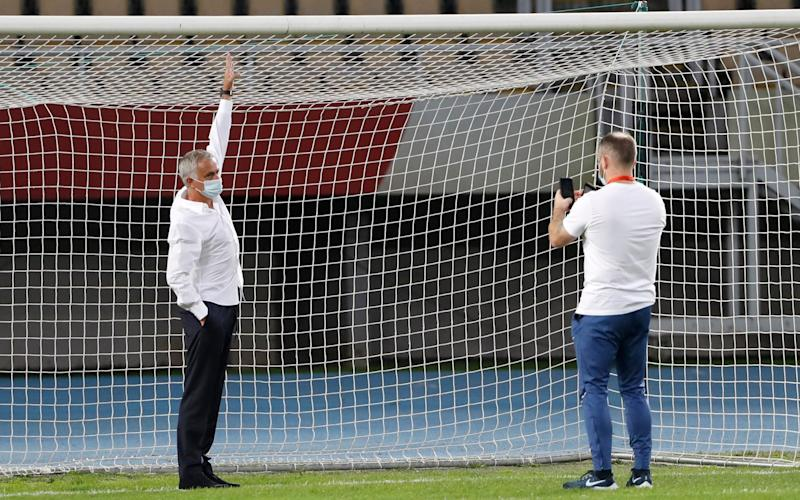 Mourinho indicates the goal is too small prior to kick off - GETTY IMAGES
