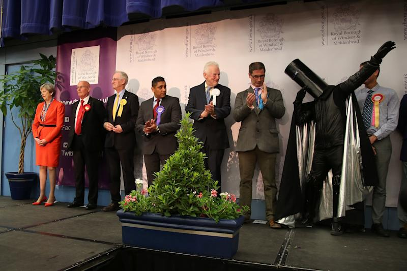 <strong>Lord Buckethead and other candidates &ndash; including Theresa May &ndash; at the Maidenhead election count in 2017&nbsp;</strong> (Photo: GEOFF CADDICK via Getty Images)