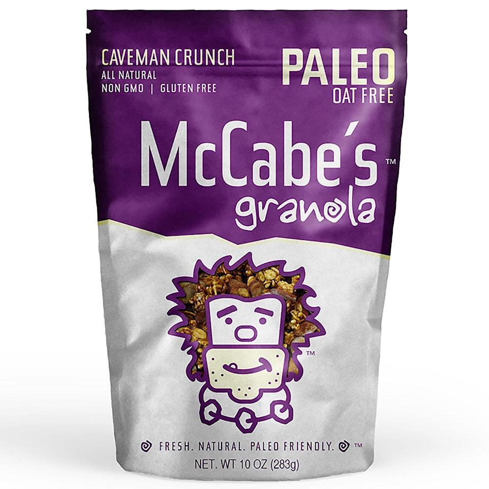 """<p><strong>McCabe's Granola</strong></p><p>walmart.com</p><p><a href=""""https://go.redirectingat.com?id=74968X1596630&url=https%3A%2F%2Fwww.walmart.com%2Fip%2F437777091&sref=https%3A%2F%2Fwww.goodhousekeeping.com%2Ffood-products%2Fg34163028%2Fhealthy-granola-brands%2F"""" rel=""""nofollow noopener"""" target=""""_blank"""" data-ylk=""""slk:Shop Now"""" class=""""link rapid-noclick-resp"""">Shop Now</a></p><p><strong>This gluten-free granola from McCabe's is also one of the few oat-free options on the market.</strong> A low-carb and low-sugar pick, we loved the texture on this granola that was both hearty and delicious. Plus, it's made from just almonds, cashews, pumpkin seeds, sunflower seeds, unsweetened coconut, olive oil, honey and salt.</p><p><strong>Nutrition Facts (1/4 cup): </strong>160 cal, 13.5g total fat, 3.7g sat fat, 0g trans fat, 0mg cholesterol, 13mg sodium, 7.5g total carbohydrate, 2g dietary fiber, 5g sugars, 4.5g protein</p>"""