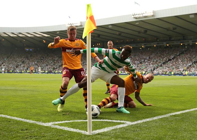 Soccer Football - Scottish Cup Final - Celtic vs Motherwell - Hampden Park, Glasgow, Britain - May 19, 2018 Celtic's Moussa Dembele in action with Motherwell's Elliott Frear and Richard Tait Action Images via Reuters/Jason Cairnduff