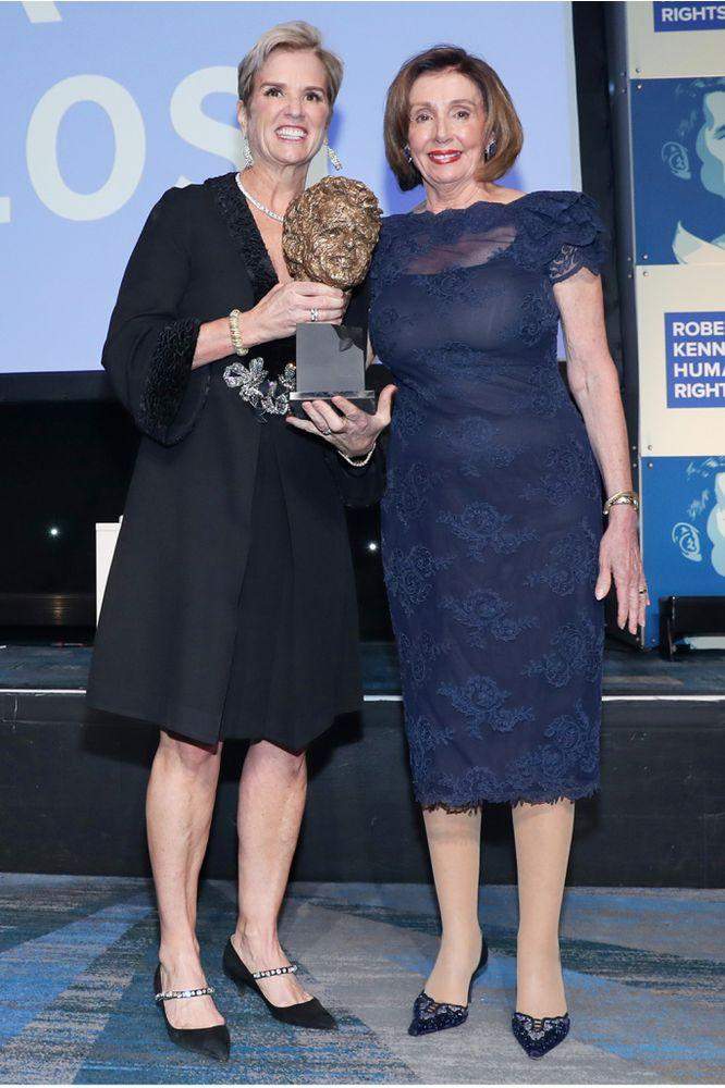 Kerry Kennedy (left) presents House Speaker Nancy Pelosi (right) with the Robert F. Kennedy