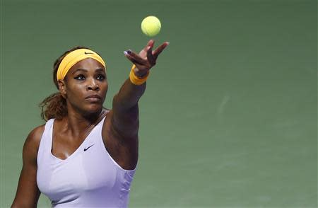 Serena Williams of the U.S. serves during her WTA tennis championships match against Petra Kvitova of Czech Republic at Sinan Erdem Dome in Istanbul