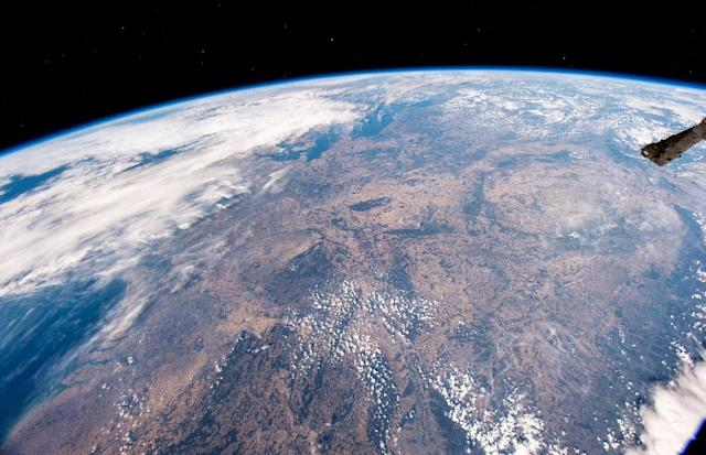 <p>Drought affected areas of Germany and central Europe are seen from the International Space Station. (Photo: Alexander Gerst/AFP) </p>