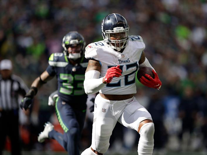 Derrick Henry makes a run against the Seattle Seahawks.