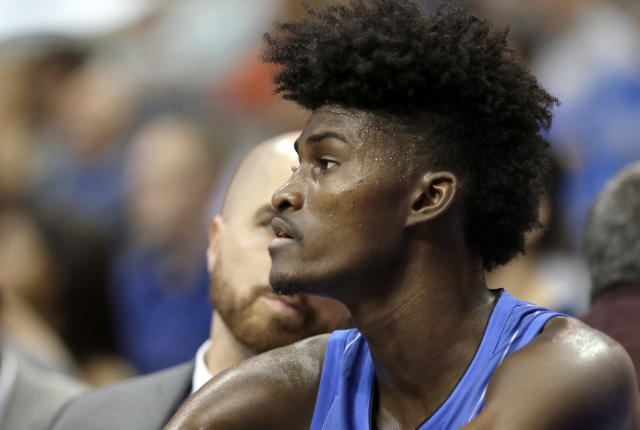 "<a class=""link rapid-noclick-resp"" href=""/ncaab/players/136035/"" data-ylk=""slk:Jonathan Isaac"">Jonathan Isaac</a> is an integral part of the <a class=""link rapid-noclick-resp"" href=""/nba/teams/orl/"" data-ylk=""slk:Orlando Magic"">Orlando Magic</a>'s future, if he can remember what attire to wear. (AP)"