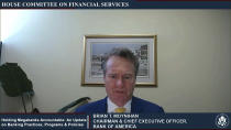 This image from video provided by the House Financial Services Committee shows Bank of America CEO Brian Moynihan testifying virtually to the House Financial Services Committee Thursday, May 27, 2021. (House Financial Services Committee via AP)