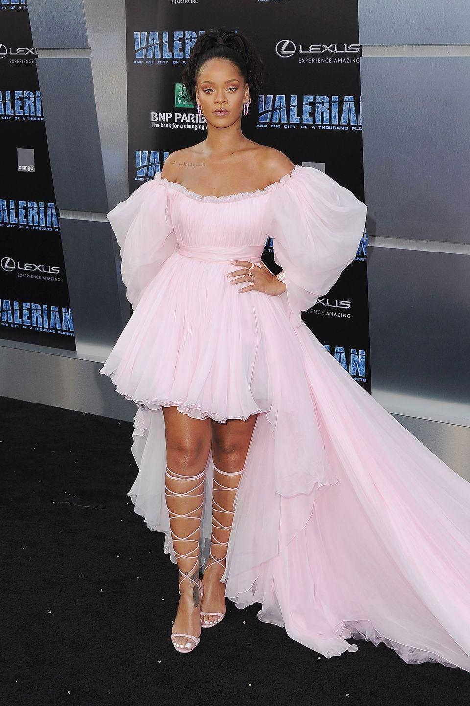 "<p>In a Giambattista Valli Couture dress, custom Manolo Blahnik shoes and Chopard jewelry attending the premiere of ""Valerian And The City Of A Thousand Planets"" in Los Angeles. </p>"