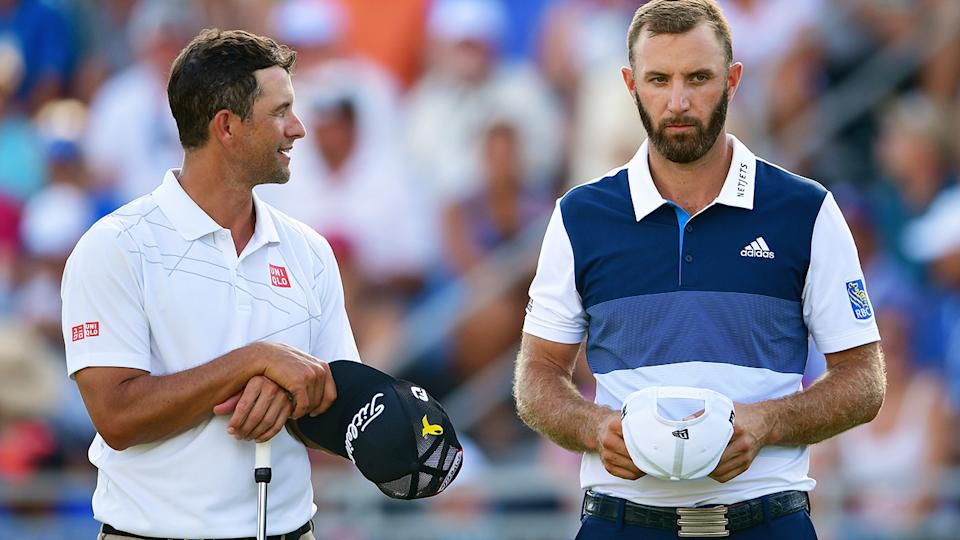 Adam Scott and Dustin Johnson, pictured here in action on the golf course.