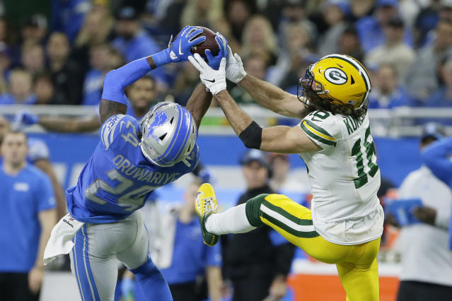 Detroit Lions cornerback Amani Oruwariye (24) intercepts a pass intended for Green Bay Packers wide receiver Jake Kumerow (16) during the second half of an NFL football game, Sunday, Dec. 29, 2019, in Detroit. (AP Photo/Duane Burleson)