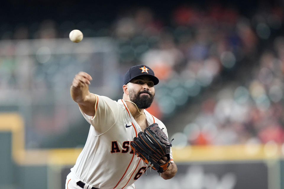 Houston Astros starting pitcher Jose Urquidy throws against the Chicago White Sox during the first inning of a baseball game Thursday, June 17, 2021, in Houston. (AP Photo/David J. Phillip)