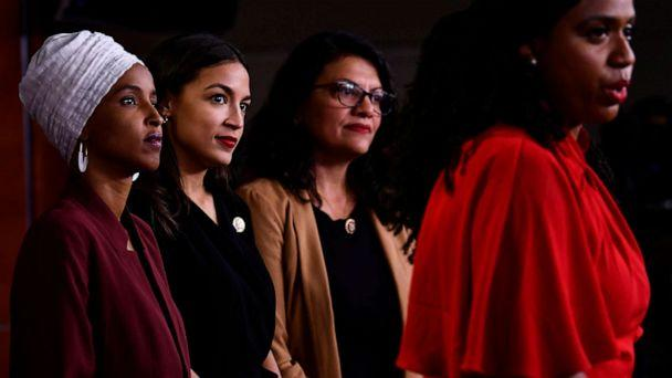 PHOTO: In this file photo taken on July 15, 2019 US Representatives Ayanna Pressley speaks as, Ilhan Abdullahi Omar, Rashida Tlaib, and Alexandria Ocasio-Cortez hold a press conference. (Brendan Smialowski/AFP/Getty Images)