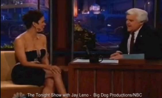 WATCH! Jay Leno Can't Stop Staring At Halle Berry's Cleavage In Low Cut Dress On The Tonight Show
