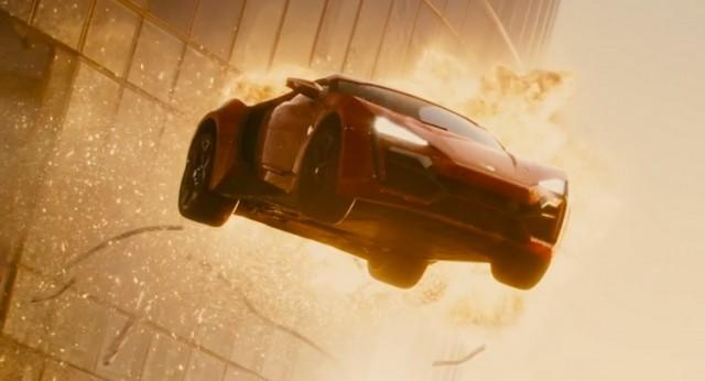 Lykan Hypersport jumping from a building