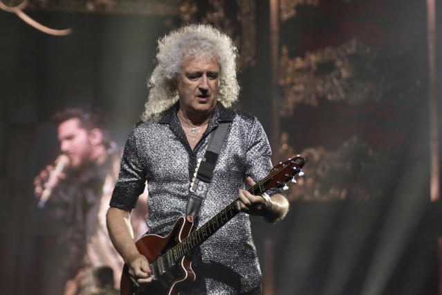 """Brian May performs live on stage during the opening of Queen and Adam Lambert's """"The Rhapsody Tour"""" at The Forum on Friday, July 19, 2019, in California (Willy Sanjuan/Invision/AP)"""